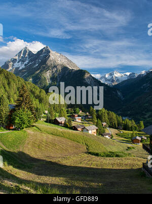 Beautiful alpine views of Pigne d'Arolla from the hamlet of La Sage, Val d'Hérens, Switzerland - Stock Photo