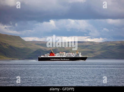 The Caledonian 'Isle of Lewis' ferry sailing through the Sound of Mull on its way top Oban in Argyll and Bute.  - Stock Photo
