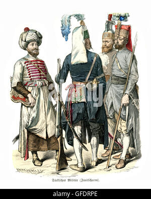 Military uniforms of Ottoman Turkey 17th and 18th Century. Janissaries elite infantry units that formed the Ottoman - Stock Photo