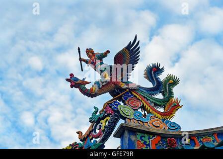 Dragon on the roof of Tua Pek Kong Chinese Temple in Chinatown. Kuching, Sarawak. Malaysia. Borneo - Stock Photo