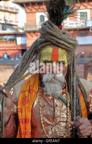 Portrait of a Sadhu or Holy man at Durbar Square in Patan, Nepal - Stock Photo