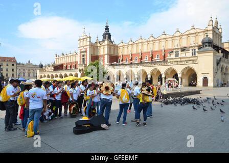KRAKOW, POLAND - JUL 27, 2016: World Youth Day 2016 International Catholic Youth Convention, young people on Main - Stock Photo