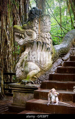 Dragon Bridge in the Sacred Monkey Sanctuary, Bali, Indonesia - Stock Photo
