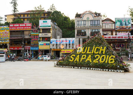 View of Sa Pa town main square. Sa Pa or Sapa, is a frontier township and capital of Sa Pa District in Lào Cai Province - Stock Photo
