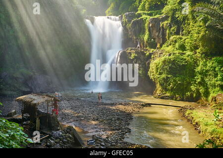Tegalalang Waterfall landscape near Ubud, Bali, Indonesia - Stock Photo