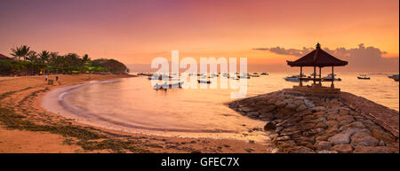 Sanur Beach landscape at sunrise, Bali, Indonesia - Stock Photo