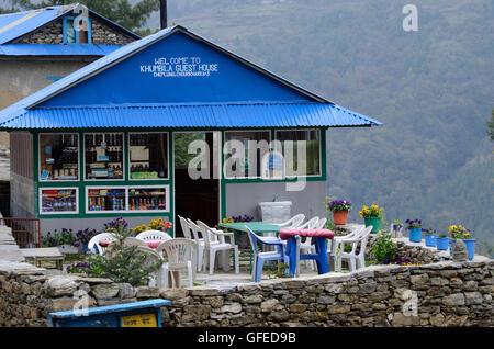 PHERICHE, NEPAL - APRIL 25, 2013 : Guesthouse-cafe on the way to Everest base camp,Khumbu region on April 25, 2013 - Stock Photo