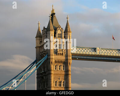 Architectural detail of Tower Bridge in London - Stock Photo