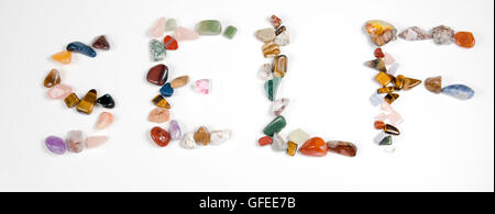 New age crystals and gemstones spelling out Self - Stock Photo