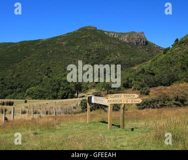 Stony Peak, mountain near Akaroa - Stock Photo