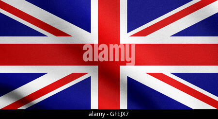 Flag of the United Kingdom waving in the wind with detailed fabric texture. British national flag. - Stock Photo