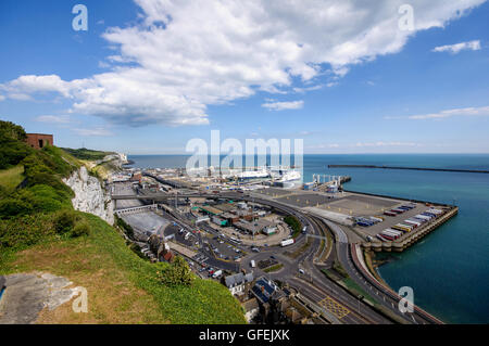 View of  Dover Eastern Harbor from Dover castle, Kent, England - Stock Photo