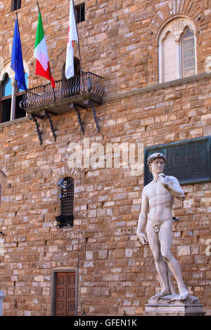 View of the David of Michelangelo in Florence, Tuscany. Italy - Stock Photo