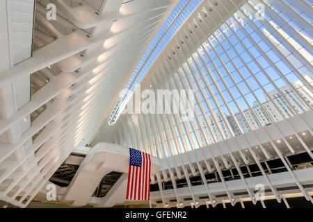 Interior view of the Oculus, World Trade Center Path Station, Manhattan Financial District, New York City - Stock Photo