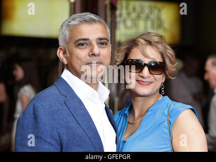 Mayor of London Sadiq Khan and his wife Saadiya Khan arriving for the opening gala performance of Harry Potter and - Stock Photo