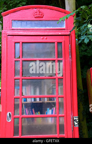 Red telephone box book exchange library, Bury Green Hertfordshire - Stock Photo