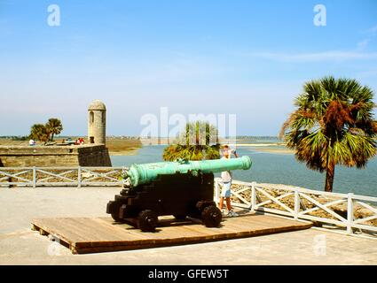 Cannon and wall turret in old Spanish colonial fortress of Castillo de San Marcos at St. Augustine on Florida's - Stock Photo