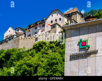 Bank building of Liechtensteinische Landesbank in front of the castle of Vaduz, Principality of Liechtenstein, Europe - Stock Photo