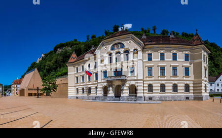 Old and new parliament in Vaduz, Principality of Liechtenstein, Europe - Stock Photo
