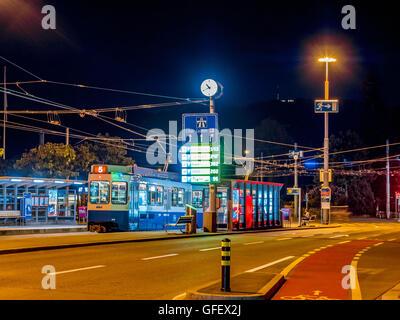 Tram station in Zurich at night, Switzerland, Europe - Stock Photo