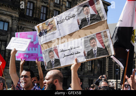 Amsterdam, The Netherlands, 4th August 2013 - Egyptians gather to protest against the removal of Mohammed Morsi - Stock Photo
