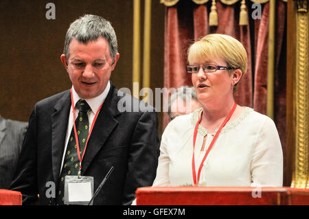Belfast, Northern Ireland. 10 Mar 2014 - Grant Nixon and his sister Michelle talk to the audience about Grant's - Stock Photo