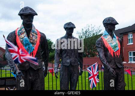 Belfast, Northern Ireland. 11 Jul 2016 - A public art display remembering the shipyard workers of Belfast is decorated - Stock Photo