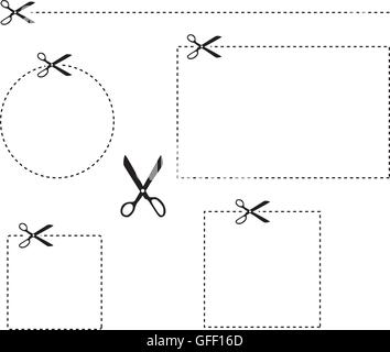 scissors scissor cut out dashed line dotted lines cut vector - Stock Photo