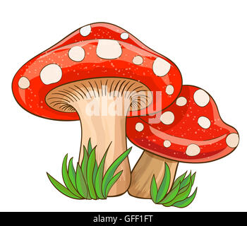 cartoon red mushrooms and grass on white - Stock Photo