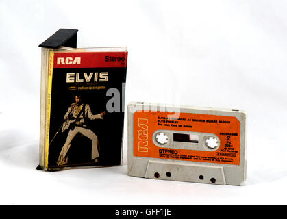 Elvis Presley cassette tape 'Recorded Live At Madison Square Gardens' from 1972 - Stock Photo