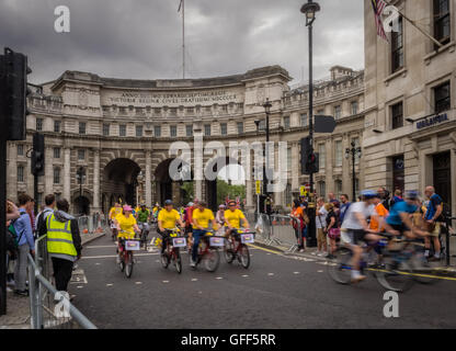 London, July 2016. Action during the Prudential Ride London Freecycle event in London UK that took place over the - Stock Photo