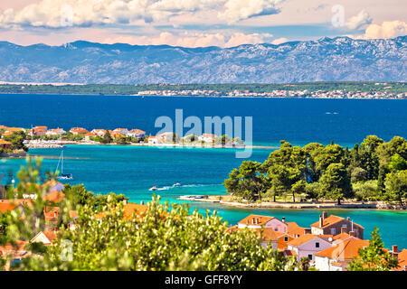 Zadar islands archipelago and Velebit mountain view, Preko, Dalmatia, Croatia - Stock Photo