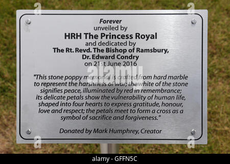 Memorial plaque beside the 'Forever' stone poppy memorial in Royal Wootton Bassett, Wiltshire, UK. - Stock Photo