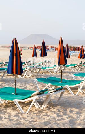 Empty sun loungers and parasols on a beach - Stock Photo