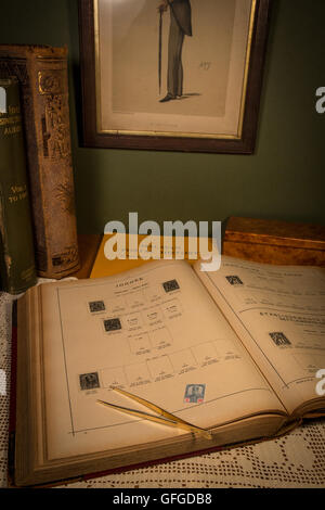 Stamp collecting as a pastime with rare and expensive stamps and High catalogue values - Stock Photo