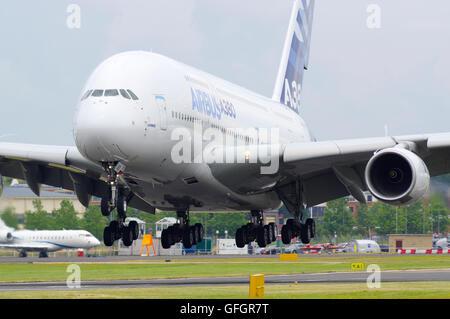 Airbus A380 at Farnborough international air show - Stock Photo