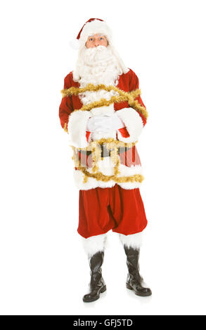 Series with a man in a Santa Claus outfit, in various poses with Christmas props. - Stock Photo