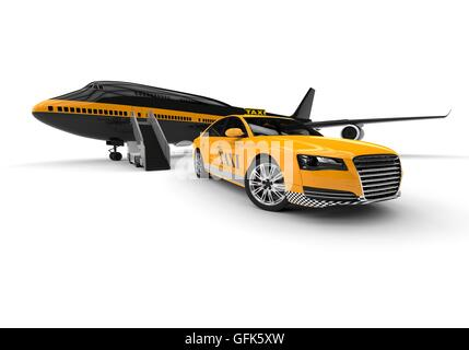 3D render image of a plane and a taxi representing airport taxi service - Stock Photo