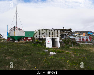 Reconstruction turf house 1993 part of Paamiut Katersugaasivik Museum South West Greenland small fishing farming - Stock Photo