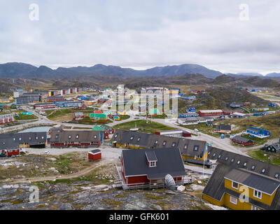 View down Paamiut Church South West Greenland small fishing community in Sermersooq municipality southern end small - Stock Photo