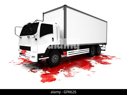 3D render image of a truck on top of a blood splash representing the terrorist attack from Nice, France. - Stock Photo