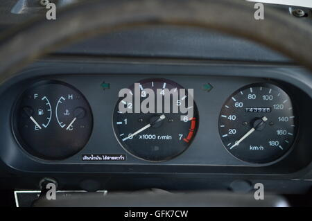 closed-up picture of old car's meters on panel - Stock Photo