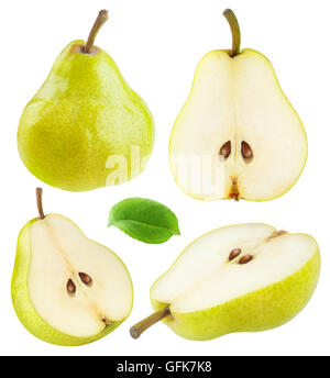 Isolated pears. Collection of whole and sliced yellow green pear fruits isolated on white background with clipping - Stock Photo