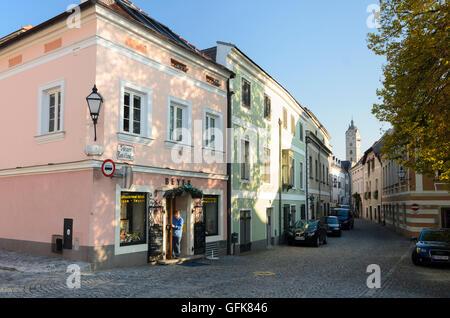 Krems an der Donau: street Steiner Landstraße in Stein, church Frauenbergkirche, Austria, Niederösterreich, Lower - Stock Photo