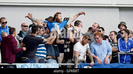 Lazio fans in good spirits during the Friendly match between Brighton and Hove Albion and Lazio at the American - Stock Photo