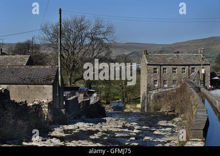 Gayle Mill, Gayle village, Hawes Upper Wensleydale, Yorkshire Dales National Park, North Yorkshire, England, UK. - Stock Photo