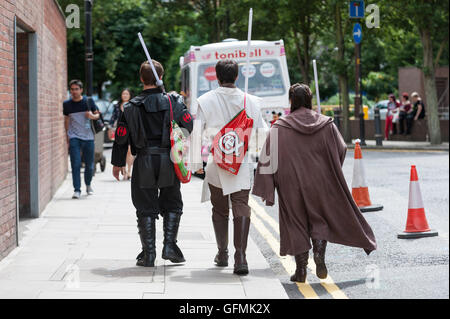 London, UK.  31 July 2016.  Fans don their favourite costumes as they visit London Film and Comic Con at Kensington - Stock Photo