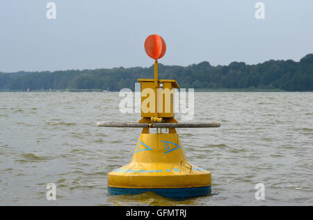 Steinhude, Germany. 27th July, 2016. The yellow mail buoy that is anchored in Steinhuder Meer lake in Steinhude, - Stock Photo
