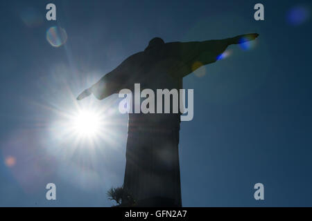 August. 01st Aug, 2016. The statue of Christ the Redeemer in Rio de Janiero, Brazil, August 01, 2016. Rio 2016 Olympic - Stock Photo