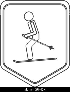 skiing pictogram icon shield emblem - Stock Photo